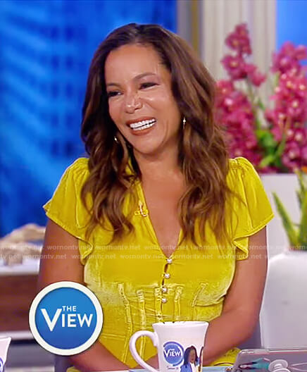 Sunny's yellow velvet dress on The View