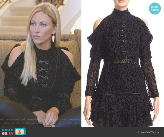 Cold Shoulder Floral Burnout Velvet Blouse by Yigal Azrouel worn by Stephanie Hollman on The Real Housewives of Dallas