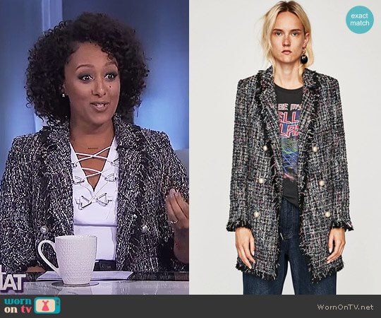 Tweed Jacket with Faux Pearl Button by Zara worn by Tamera Mowry  on The Real
