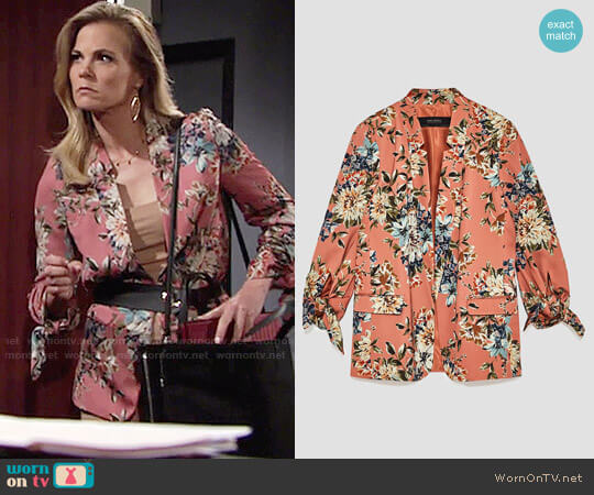 Zara Flowing Floral Print Jacket worn by Gina Tognoni on The Young & the Restless