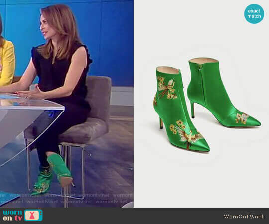 Embroidered Satin High Heel Ankle Boots by Zara worn by Jedediah Bila on The View