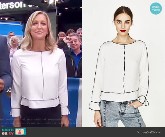 Long Sleeve Top by Zara worn by Lara Spencer on Good Morning America