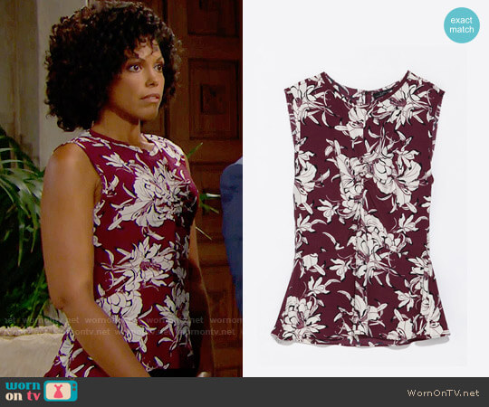 Zara Printed Top with Gathered Front worn by Karla Mosley on The Bold & the Beautiful
