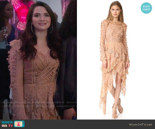 Zimmermann Bowerbird Romance Mini Dress worn by Katie Stevens on The Bold Type