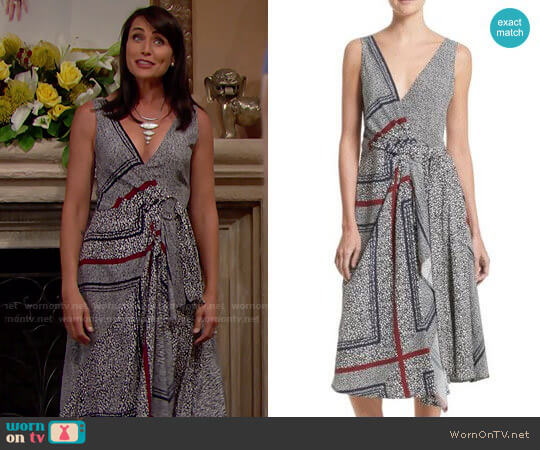 10 Crosby Derek Lam Print Pleated Silk Wrap Dress worn by Rena Sofer on The Bold & the Beautiful