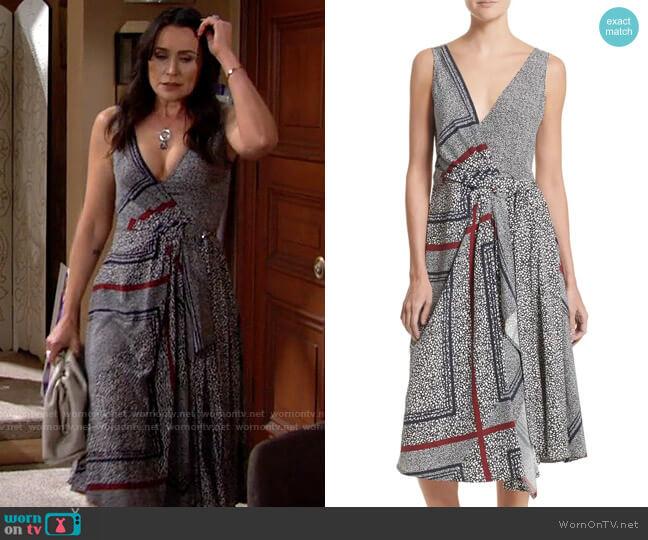10 Crosby Derek Lam Print Pleated Silk Wrap Dress worn by Quinn Fuller (Rena Sofer) on The Bold & the Beautiful