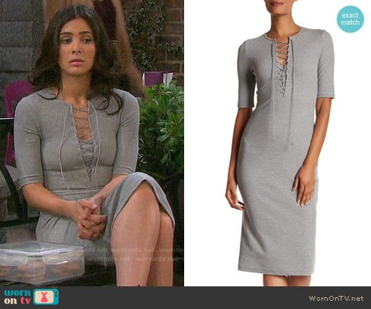 Derek Lam 10 Crosby Ribbed Lace-Up Tee Dress worn by Gabi Hernandez (Camila Banus) on Days of our Lives