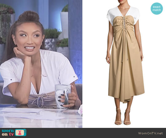 Cap-Sleeve Gathered Front Cotton Woven Dress by 3.1 Phillip Lim worn by Jeannie Mai on The Real
