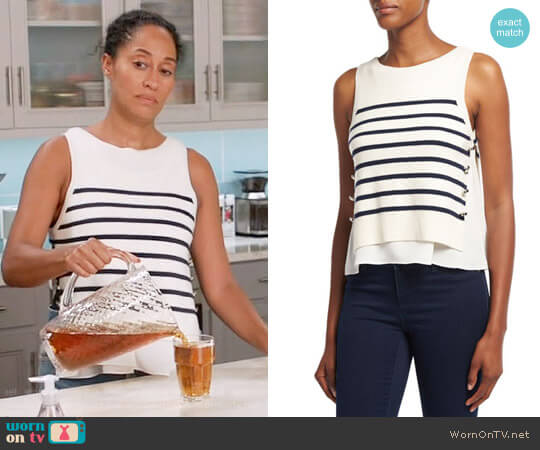 3.1 Phillip Lim Sailor Striped Tank W/ Silk Underlay worn by Tracee Ellis Ross on Blackish