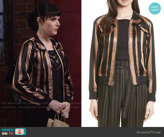 3.1 Phillip Lim Ruffle Stripe Satin Bomber worn by Tessa Porter (Cait Fairbanks) on The Young & the Restless