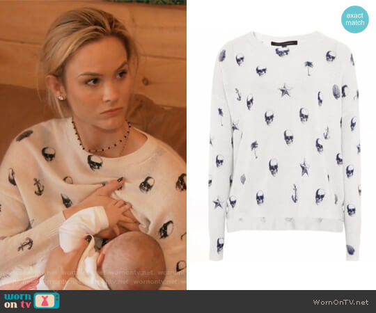 Riley V-Neck Skull-Print Cashmere Sweater by 360 Sweater worn by Meghan King Edmonds on The Real Housewives of Orange County