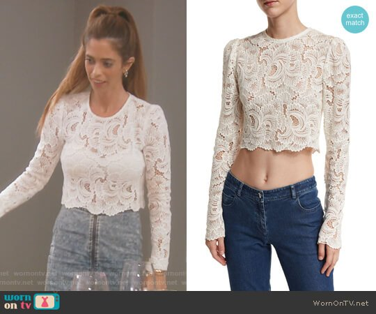 Talia Long-Sleeve Cropped Sheer Lace Top by ALC worn by Lydia McLaughlin on The Real Housewives of Orange County