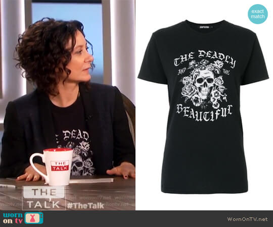 The Deadly and the Beautiful Jersey T-Shirt by Adaptation worn by Sara Gilbert on The Talk
