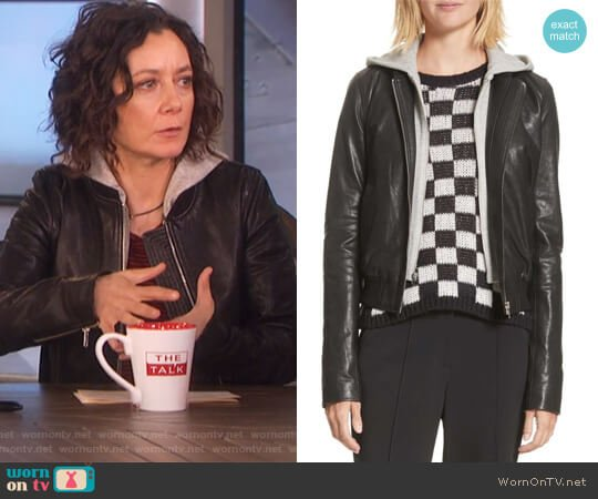 Edison Leather Jacket with Removable Hooded Inset by A.L.C. worn by Sara Gilbert on The Talk