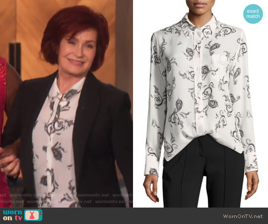 Scott Button-Front Long-Sleeve Silk Blouse by ALC worn by Sharon Osbourne  on The Talk