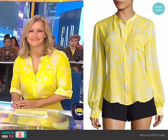 'Walter' Floral-Print Silk Blouse by A.L.C. worn by Lara Spencer on Good Morning America