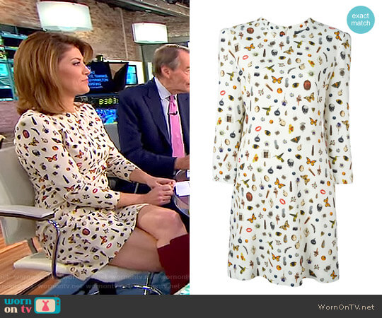 'Obsession' Print Dress by Alexander McQueen worn by Norah O'Donnell on CBS This Morning