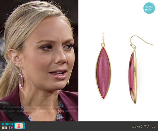 Aqua Brynnie Marquis Drop Earrings worn by Melissa Ordway on The Young & the Restless