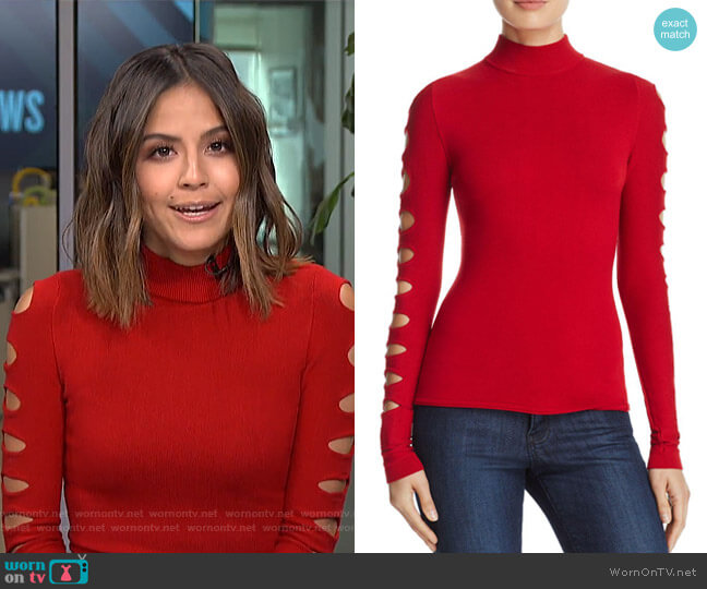 Cutout-Sleeve Sweater by Aqua worn by Erin Lim (Erin Lim) on E! News