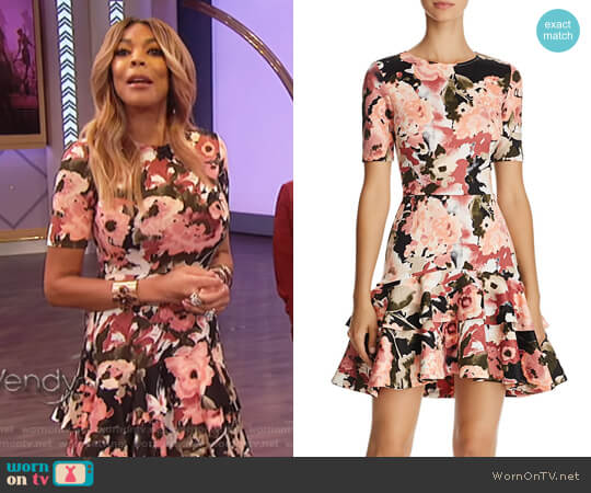 Floral Tiered-Hem Dress by Aqua worn by Wendy Williams on The Wendy Williams Show