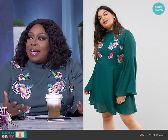 Embroidered Trumpet Sleeve Mini Dress by ASOS worn by Loni Love (Loni Love) on The Real