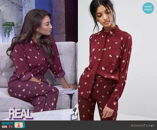 Gestuz Flower Shirt by ASOS worn by Jeannie Mai on The Real