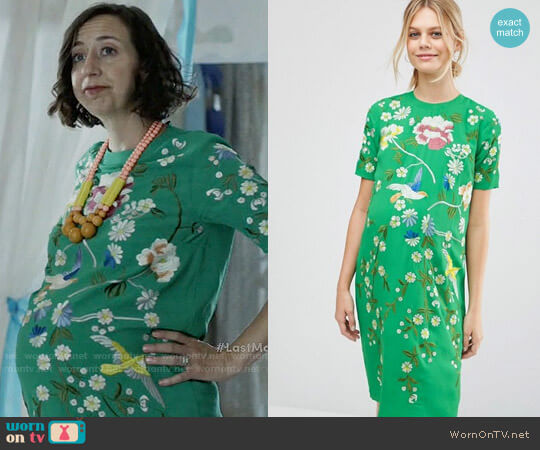 ASOS Maternity Bird and Floral Embroidered Shift  worn by Kristen Schaal on Last Man On Earth