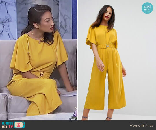 Tea Jumpsuit with Elasticated Belt by ASOS worn by Jeannie Mai (Jeannie Mai) on The Real