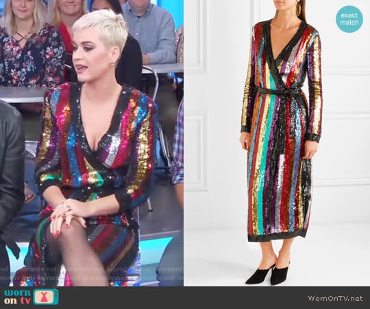Grace striped sequined georgette wrap dress by Attico worn by Katy Perry on GMA