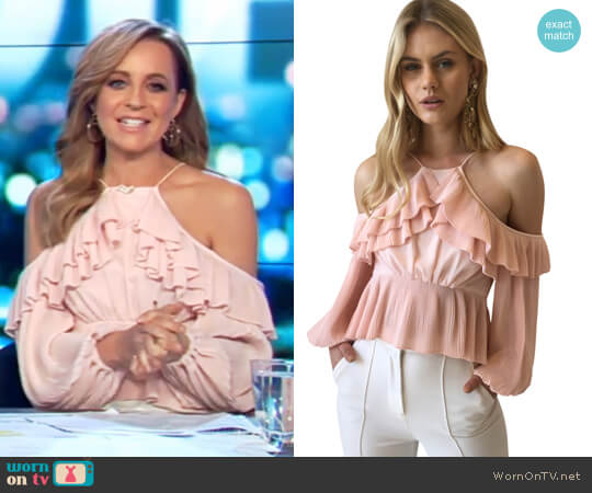 Keppel Pleat Top in Pearl by Acler worn by Carrie Bickmore on The Project