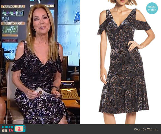 Cold Shoulder Velvet Burnout Dress by Adrianna Papell worn by Kathie Lee Gifford on Today