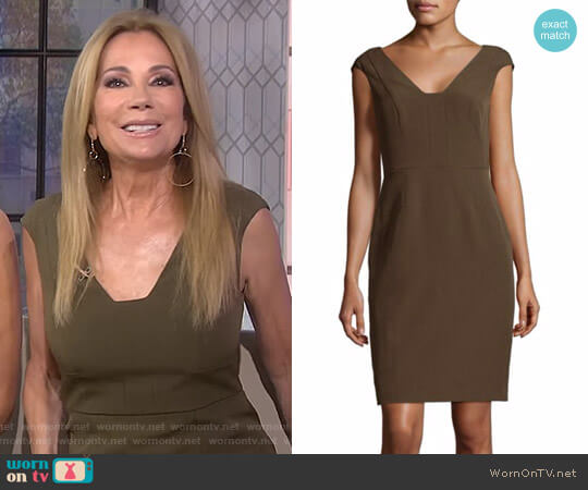 Crepe Sheath Olive Dress by Adrianna Papell worn by Kathie Lee Gifford  on Today