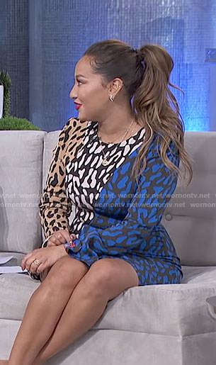 Adrienne's leopard print long sleeve dress on The Real