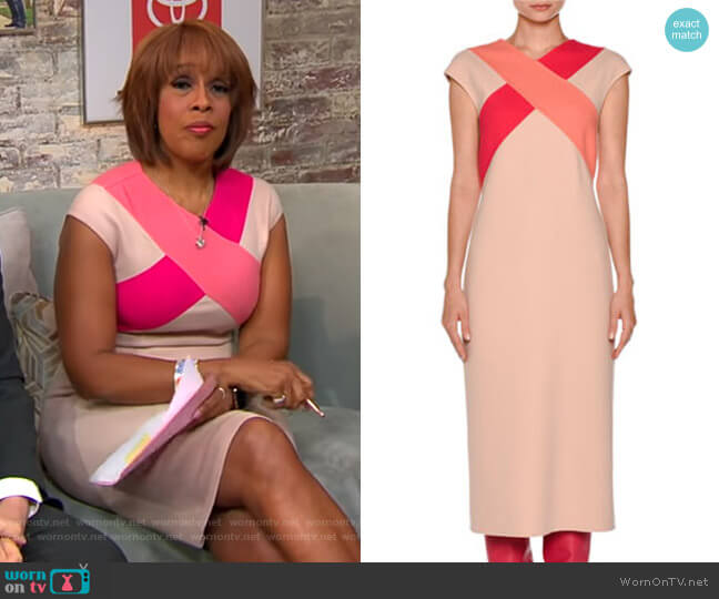 Cross-Front Cap-Sleeve Dress by Agnona worn by Gayle King  on CBS This Morning