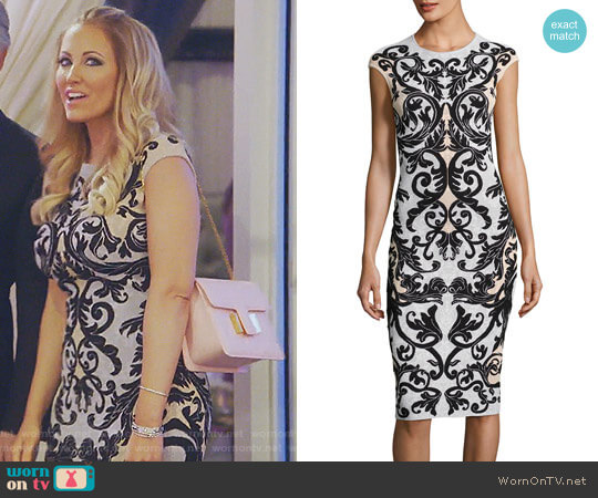 Cap-Sleeve Spine Lace Jacquard Dress by Alexander McQueen worn by Stephanie Hollman on The Real Housewives of Dallas