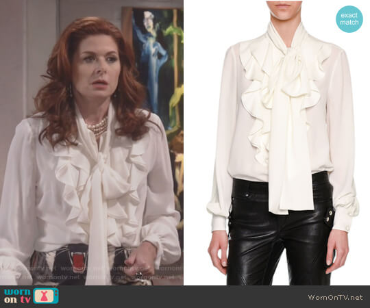 Ruffle-Front Tie-Neck Blouse by Alexander McQueen worn by Debra Messing on Will & Grace