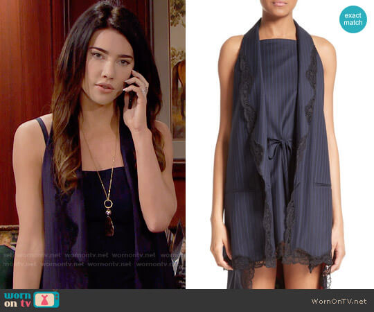 Alexander Wang Lace Trim Pinstripe Vest worn by Steffy Forrester (Jacqueline MacInnes Wood) on The Bold & the Beautiful