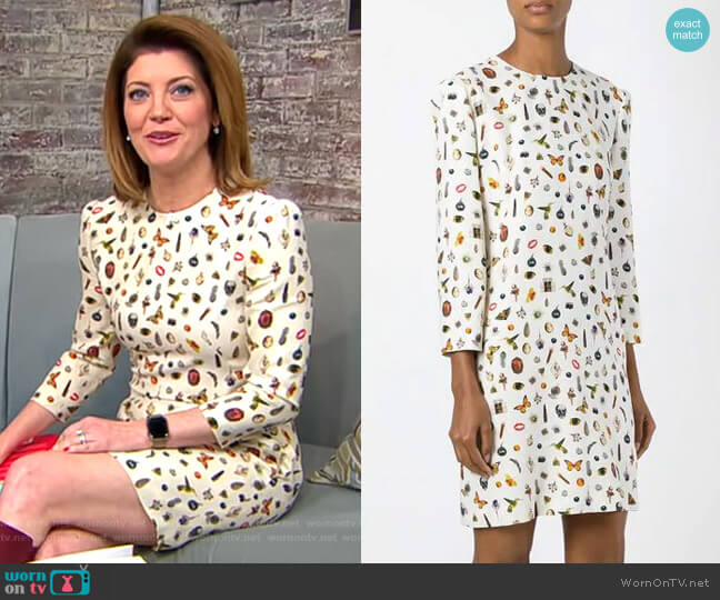 'Obsession' Print Dress by Alexander McQueen worn by Norah O'Donnell (Norah O'Donnell) on CBS This Morning