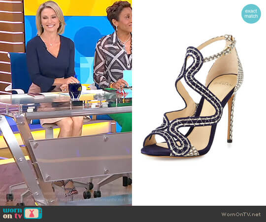 New Alice Suede/Snake Sandal by Alexandre Birman worn by Amy Robach on Good Morning America