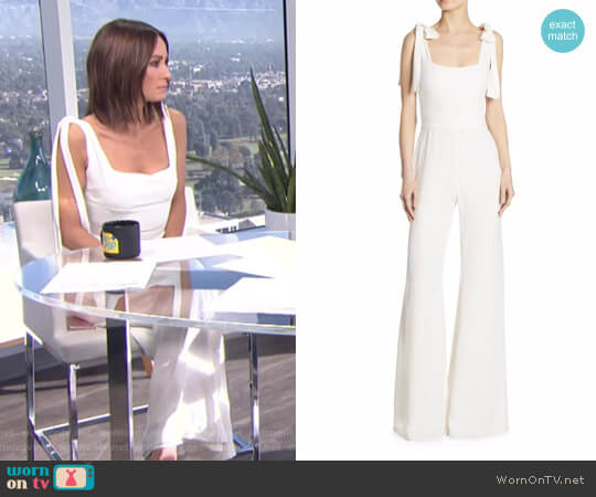 'Lincoln' Bow-Detail Microdot Jumpsuit by Alexis worn by Catt Sadler on E! News