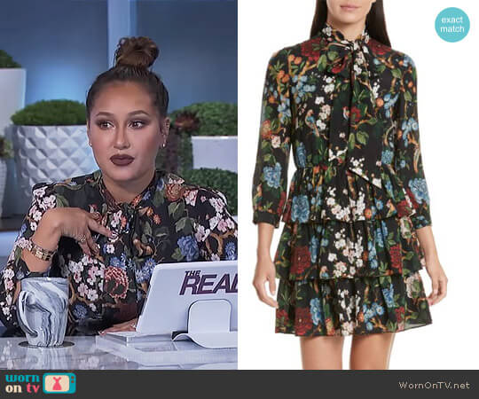 'Breann' Tie Neck Tiered Dress by Alice + Olivia worn by Adrienne Houghton on The Real