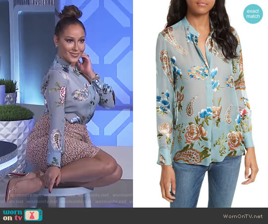 Amos Print Side Slit Tunic by Alice + Olivia worn by Adrienne Houghton (Adrienne Houghton) on The Real