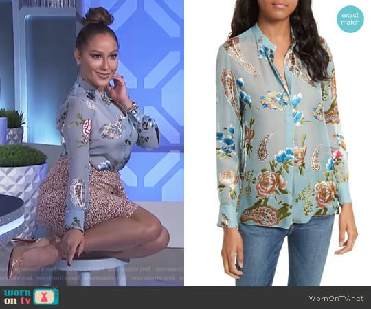 Amos Print Side Slit Tunic by Alice + Olivia worn by Adrienne Houghton  on The Real