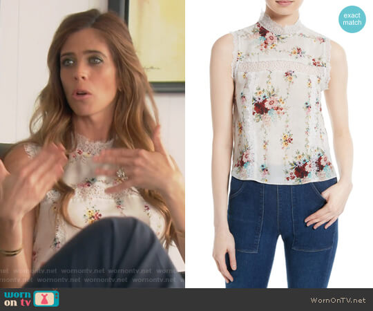Jonie Lace Trim Floral Silk Blouse by Alice + Olivia worn by Lydia McLaughlin on The Real Housewives of Orange County