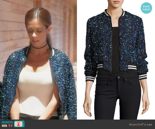 Lonnie Embellished Bomber Jacket by Alice + Olivia worn by Lydia McLaughlin (Lydia McLaughlin) on The Real Housewives of Orange County