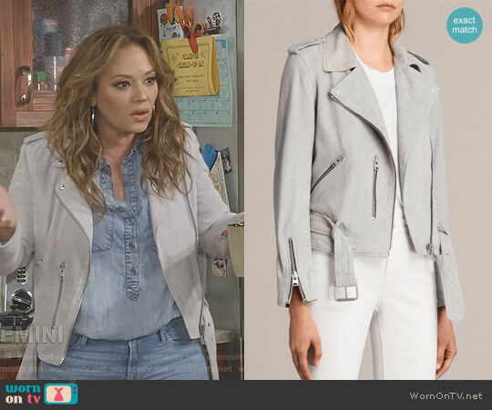 Balfern Biker Jacket by All Saints worn by Vanessa Cellucci (Leah Remini) on Kevin Can Wait
