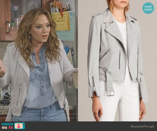 Balfern Biker Jacket by All Saints worn by Leah Remini on Kevin Can Wait