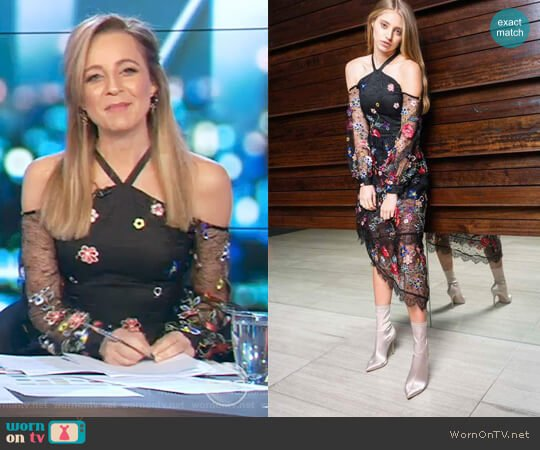 Celine Open Shoulder Midi Dress by Alpha-Be The Label worn by Carrie Bickmore  on The Project
