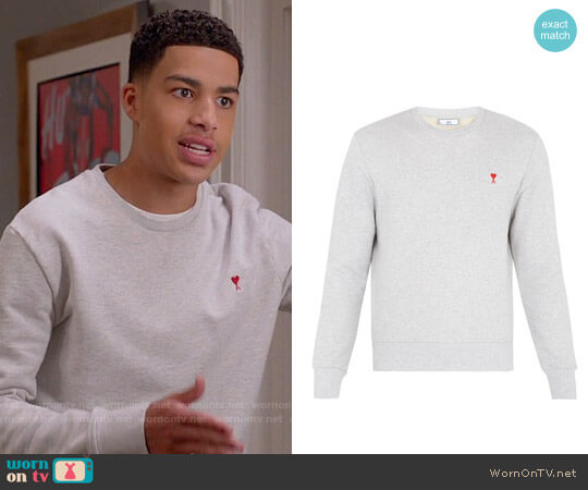 Ami de Coeur-embroidered cotton sweatshirt worn by Marcus Scribner on Blackish