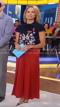 Amy's butterfly top and orange culottes on Good Morning America